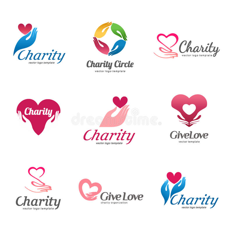 Uppsättning av vektorlogoer för välgörenhet och omsorg Logo för barnhemmet, åldringomsorg stock illustrationer