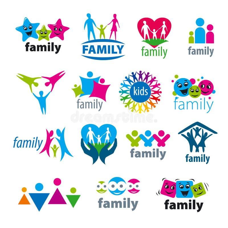 Uppsättning av vektorlogofamiljen stock illustrationer