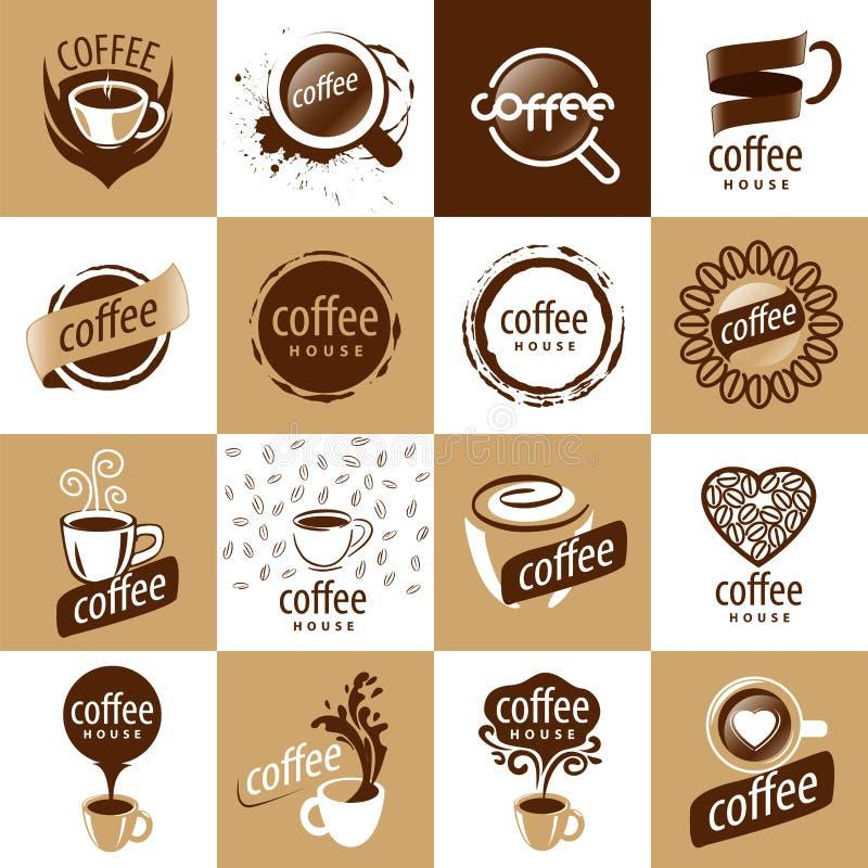 Uppsättning av vektorlogokaffe royaltyfri illustrationer