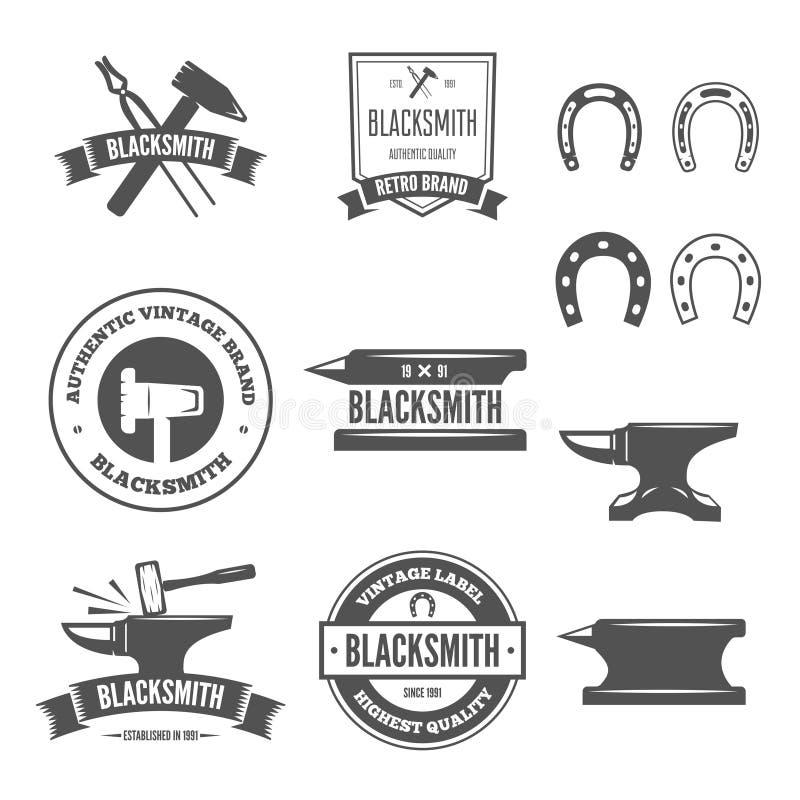 Uppsättning av vektorlogotypbeståndsdelar, etiketter, emblem och konturer för hovslagare stock illustrationer