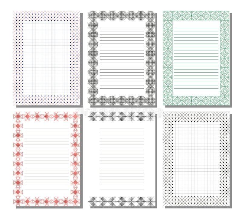 Uppsättning av vektormallen för bokstav, kort eller charter med tomt utrymme för text stock illustrationer