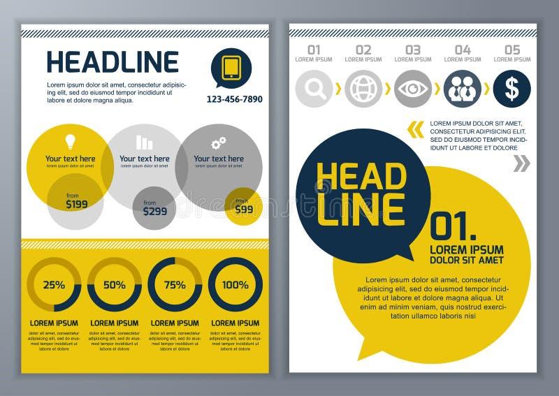 Uppsättning av vektormallen för broschyren, reklamblad, affisch, applikation vektor illustrationer