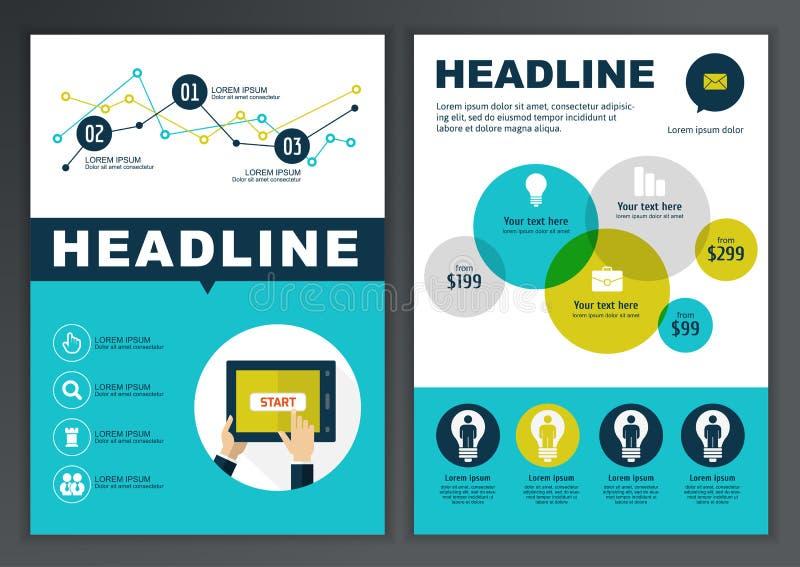 Uppsättning av vektormallen för broschyren, reklamblad, affisch, applikation stock illustrationer
