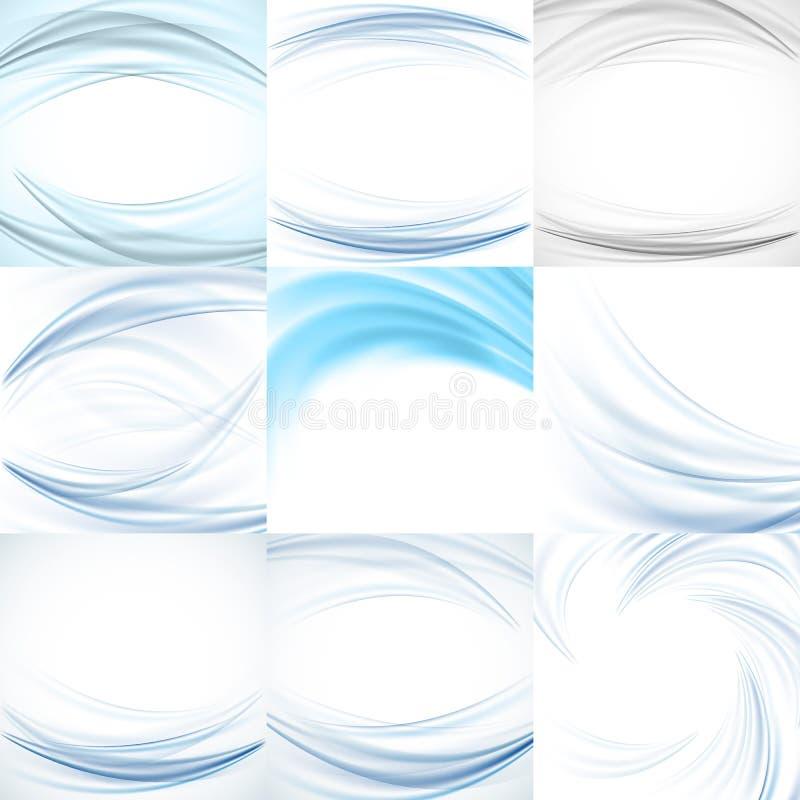 Uppsättning av vektorn för abstrakt begreppblåttbakgrunder stock illustrationer