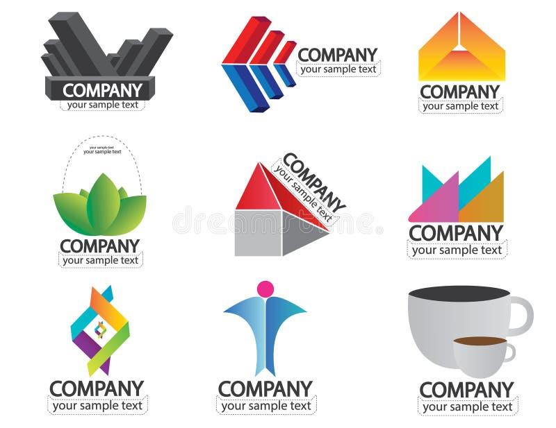 Uppsättning av vektorn för logo för företagsnamn vektor illustrationer