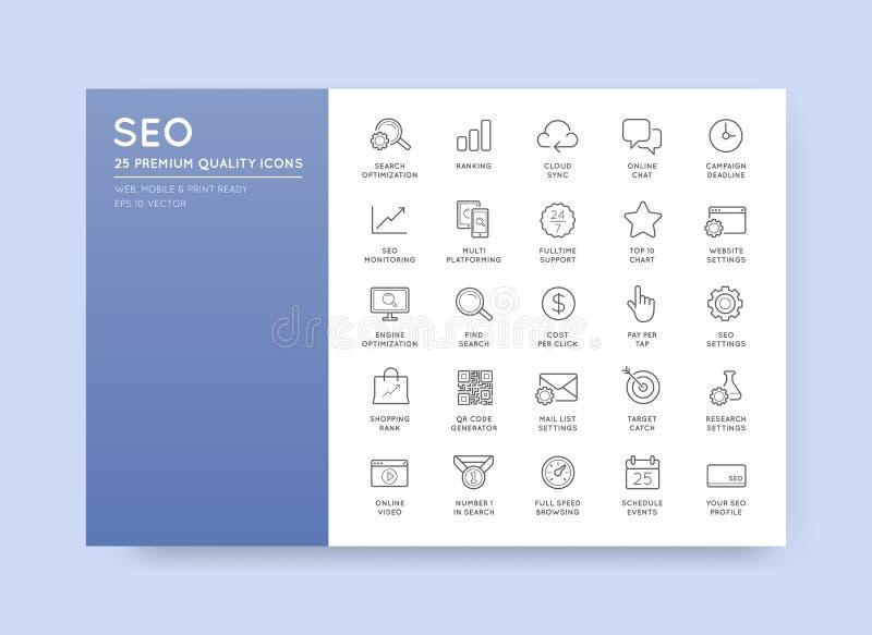 Uppsättning av vektorn SEO Search Engine Optimisation Elements och symboler stock illustrationer