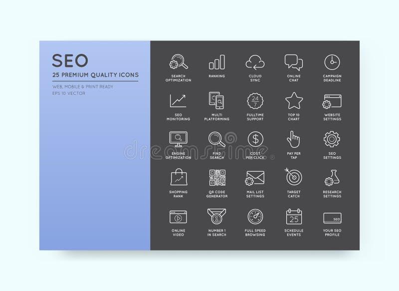Uppsättning av vektorn SEO Search Engine Optimisation Elements och symboler vektor illustrationer