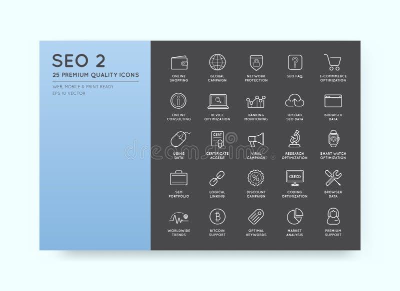 Uppsättning av vektorn SEO Search Engine Optimisation Elements och symboler royaltyfri illustrationer
