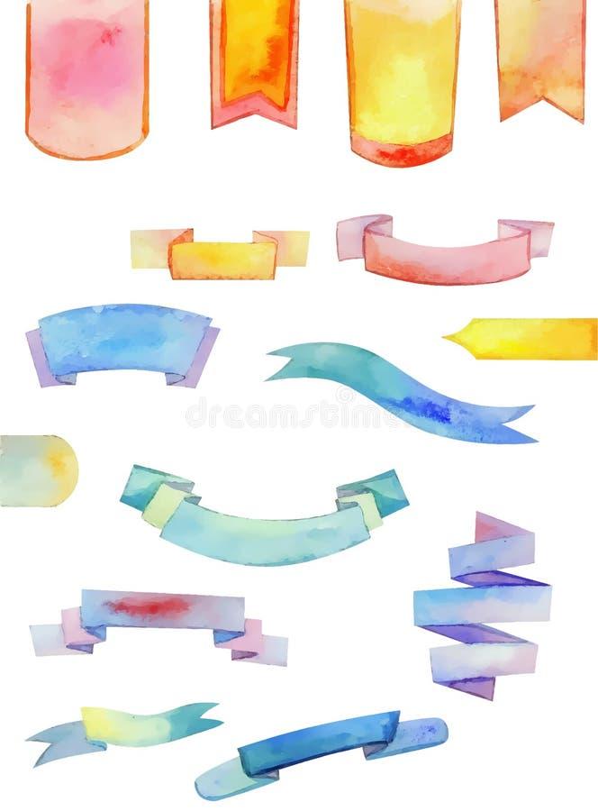 Uppsättning av vektorn, vattenfärgband för din design stock illustrationer