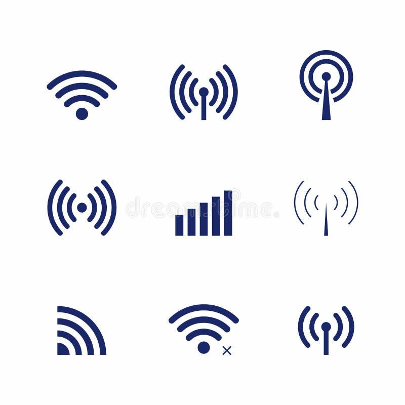 Uppsättning av vektorn Wi-Fi och trådlösa symboler för avlägset tillträde och kommunikationen via radiovågor stock illustrationer