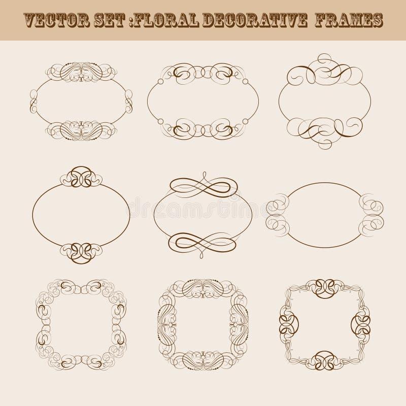 Uppsättning av vektorramar för design vektor illustrationer