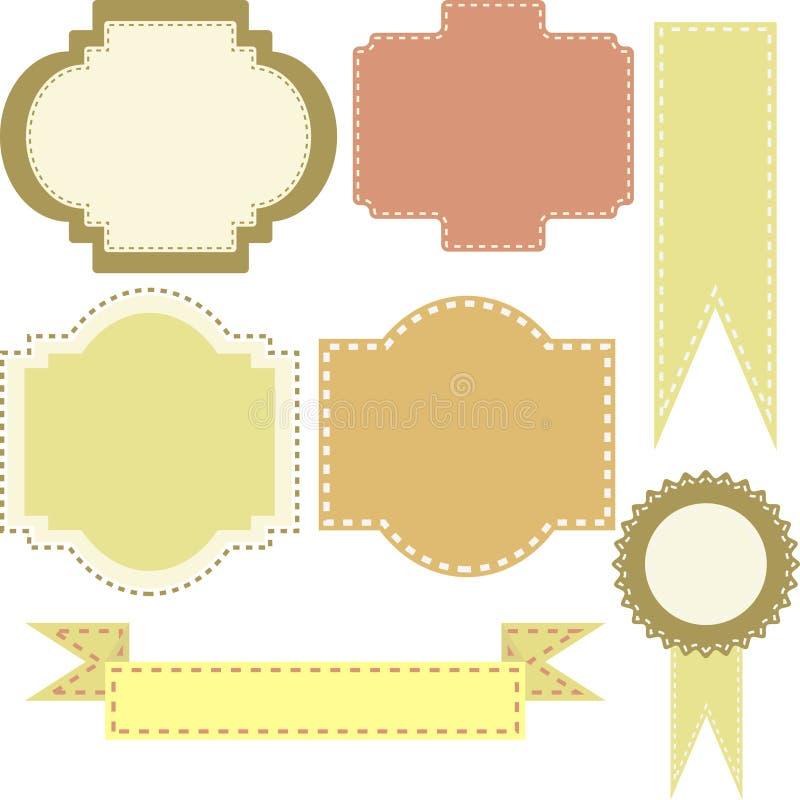 Uppsättning av vektorramar och emblem stock illustrationer
