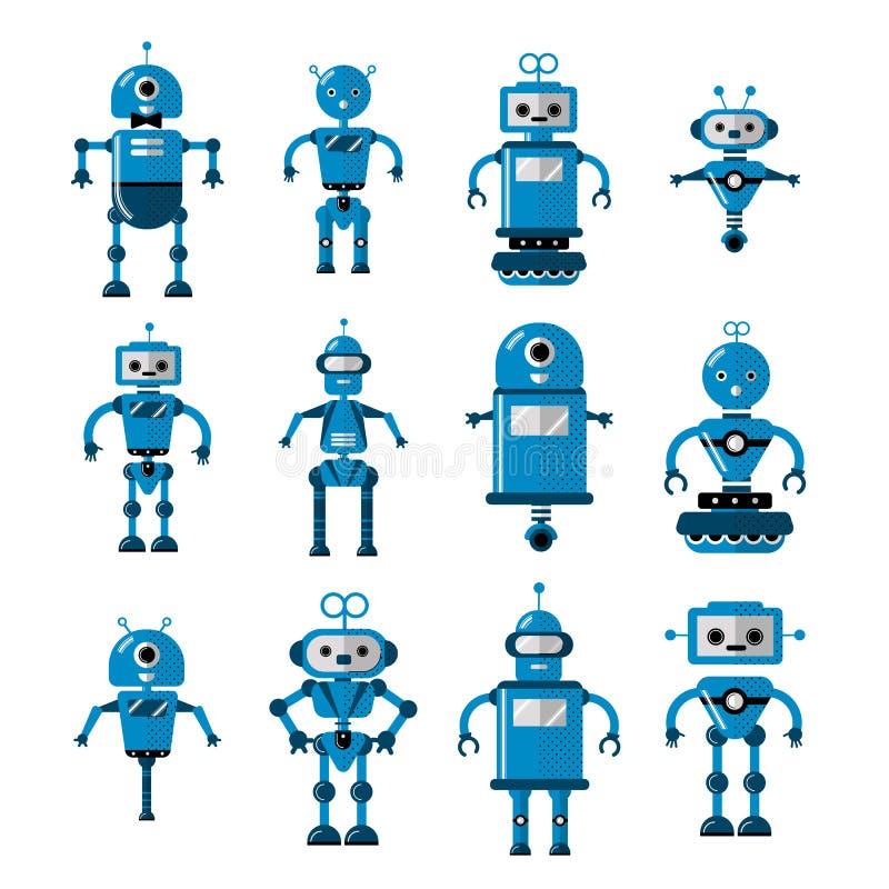 Uppsättning av vektorrobotar i plan tecknad filmstil Konstgjord intelligens för gulligt tecken för tecknad film Robotic - plan ve vektor illustrationer