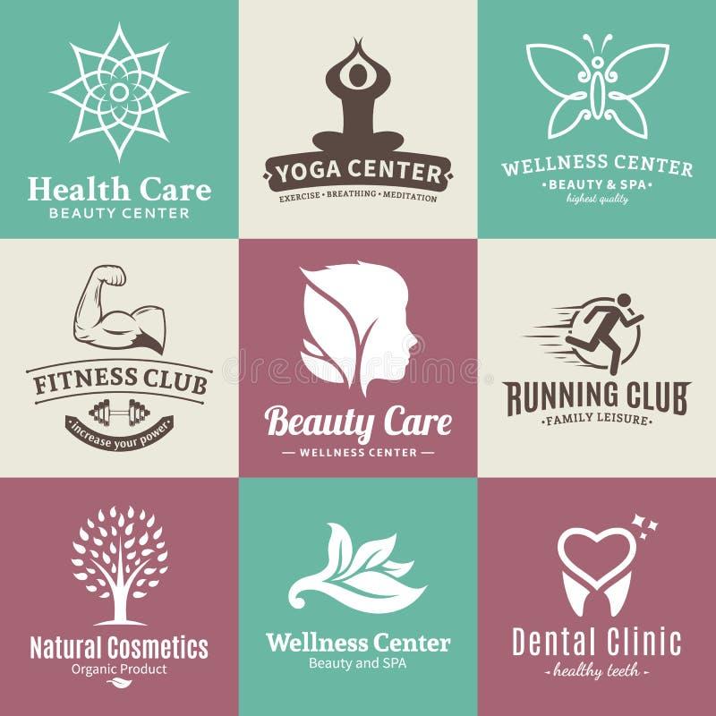 Uppsättning av vektorskönhet och hälsologo, symboler och designbeståndsdelar royaltyfri illustrationer