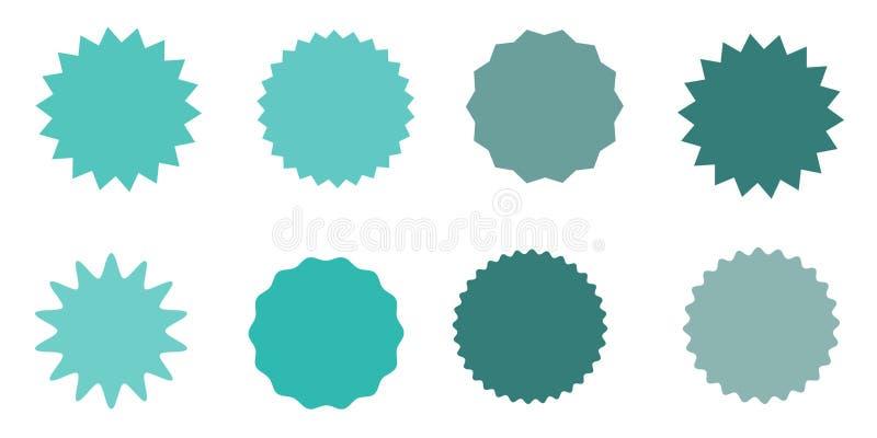 Uppsättning av vektorstarburst, sunburstemblem Randig grungebakgrund kulöra etiketter En samling av den olika typer och färgsymbo vektor illustrationer