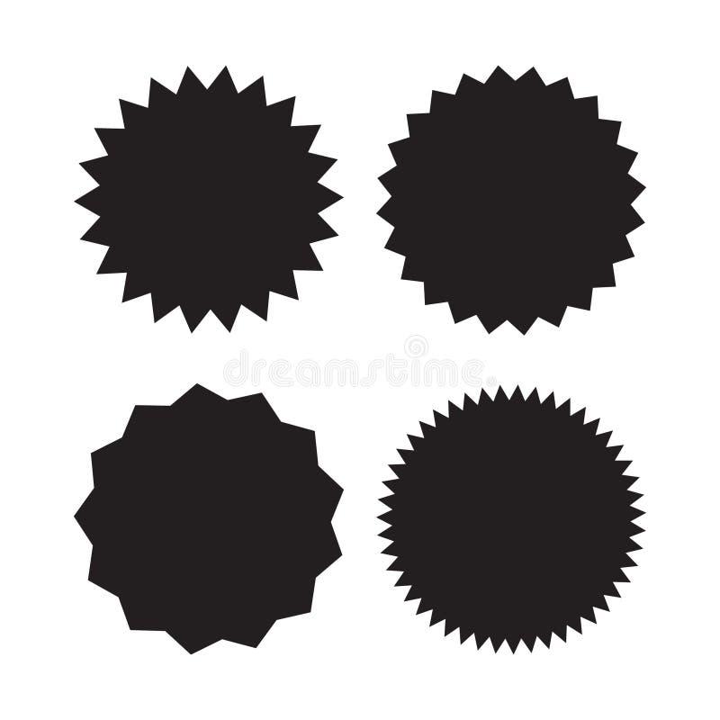 Uppsättning av vektorstarburst, sunburstemblem Svarta symboler på vit bakgrund Enkla plana stiltappningetiketter, klistermärkear vektor illustrationer