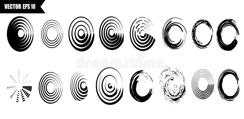 Uppsättning av vektorsvartcirklar Svarta fläckar på isolerad vit bakgrund Fläckar för grungedesign stock illustrationer
