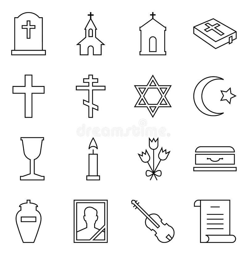 Uppsättning av vektorsymboler av begravningen och kyrkogården royaltyfri illustrationer