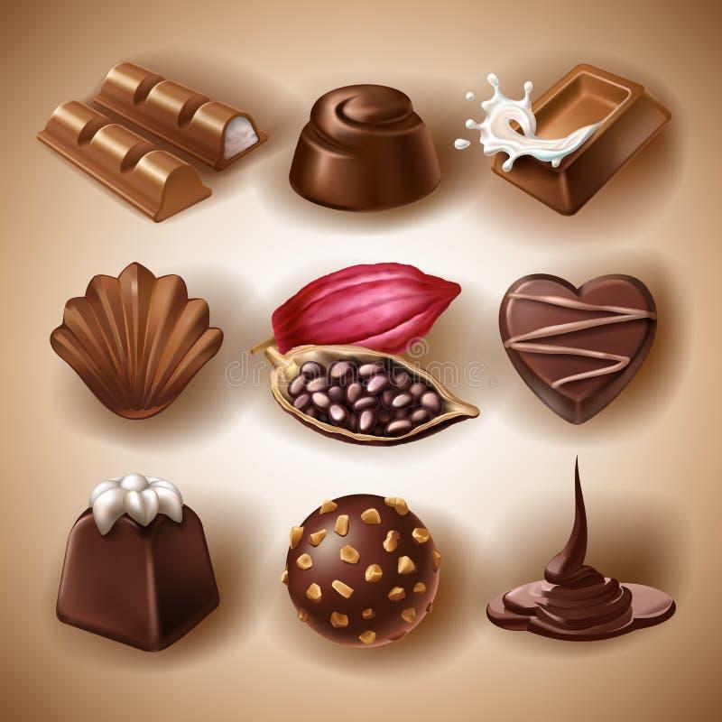 Uppsättning av vektorsymboler av chokladefterrätter och godisar, vätskechoklad och kakaobönor stock illustrationer