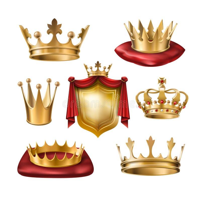 Uppsättning av vektorsymboler av kungliga guld- kronor av olika slag och vapenskölden som isoleras på vit royaltyfri illustrationer