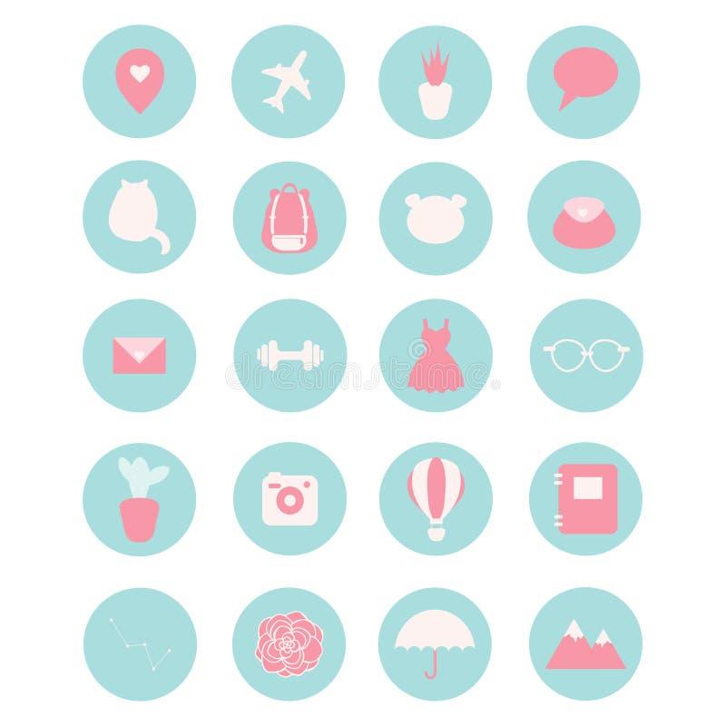 Uppsättning av 20 vektorsymboler för sociala nätverk, affär, etc. stock illustrationer