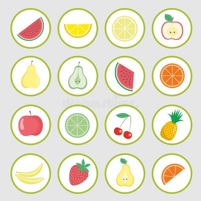 Uppsättning av vektorsymboler, fruktklistermärkear stock illustrationer