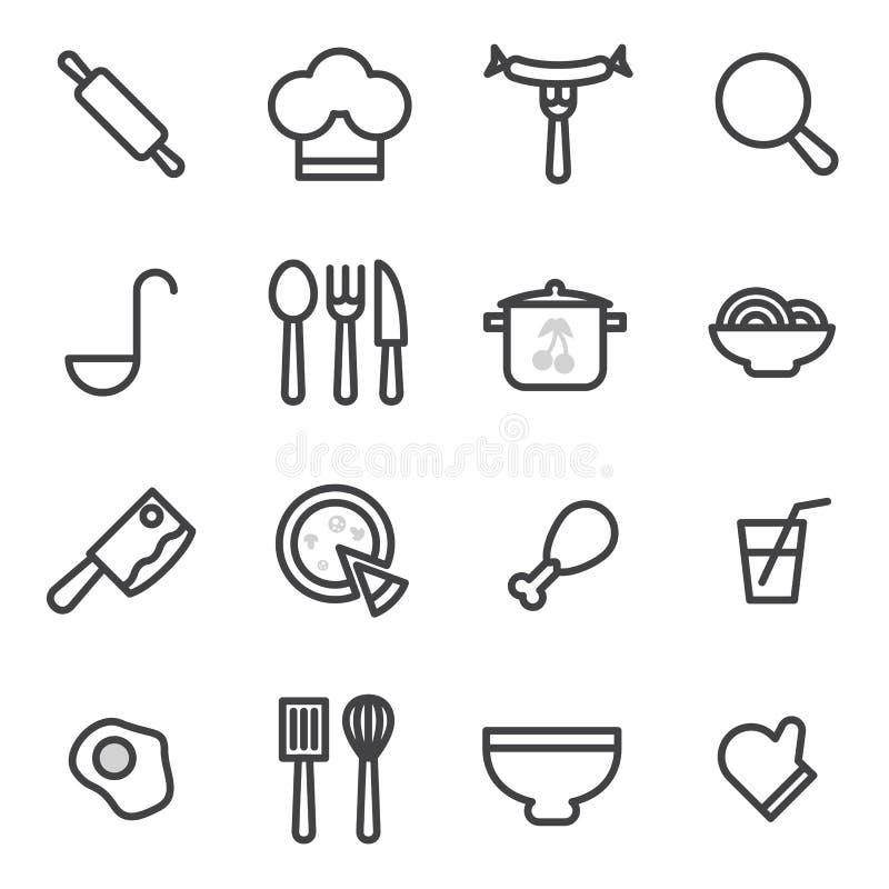 Uppsättning av vektorsymboler som lagar mat, mat som är sund på en ljus bakgrund royaltyfri illustrationer