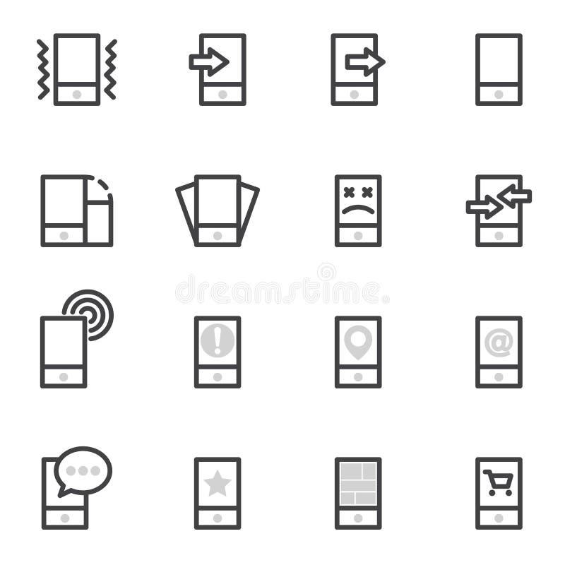 Uppsättning av vektorsymbolsmobiltelefoner, minnestavlor och smartphones på en ljus bakgrund stock illustrationer