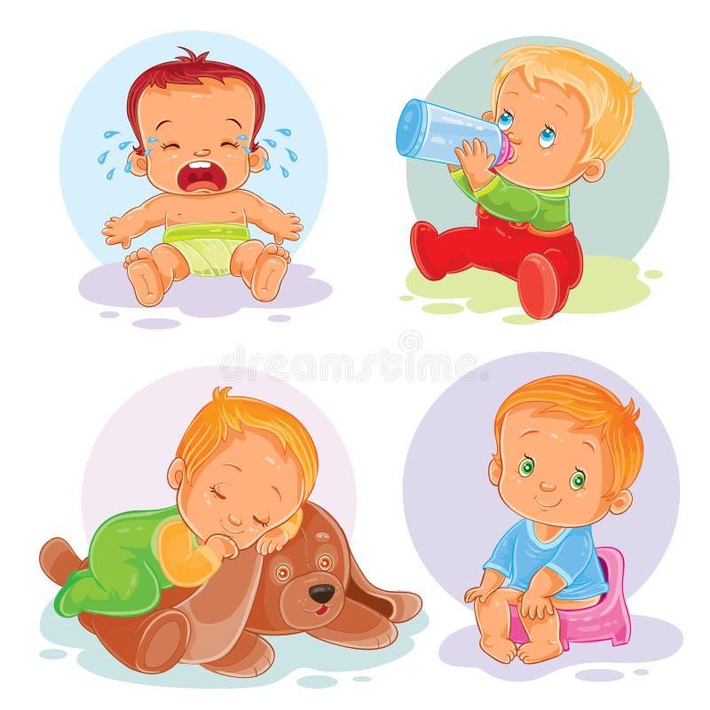 Uppsättning av vektorsymbolssmå barn royaltyfri illustrationer