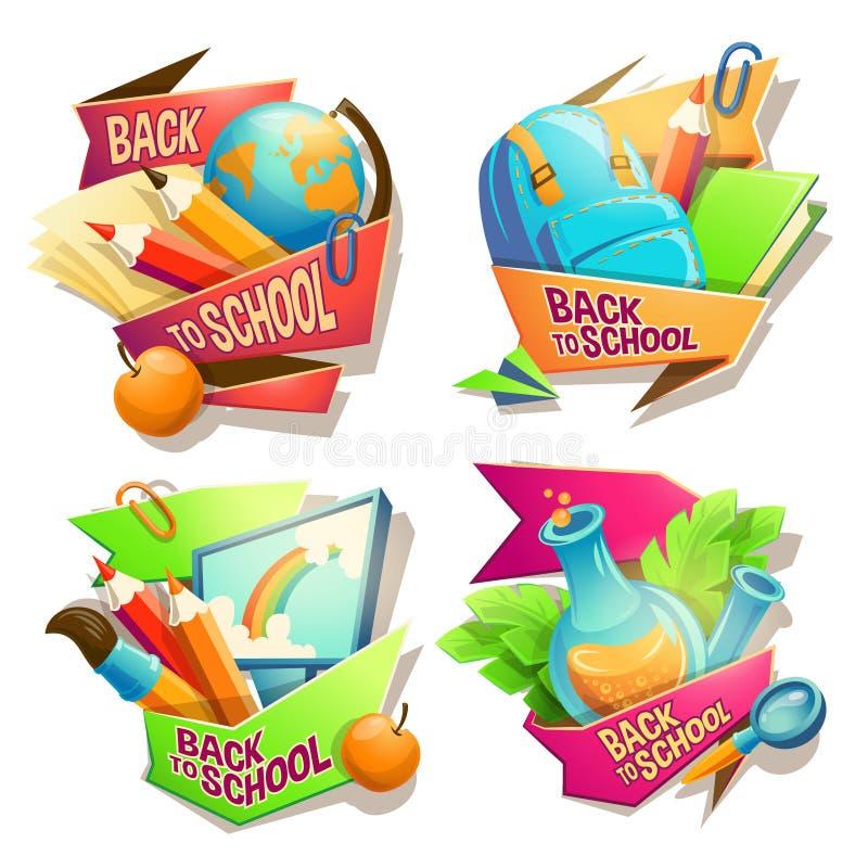 Uppsättning av vektortecknad filmillustrationer, emblem, klistermärkear, emblem, kulöra symboler av skolatillförsel vektor illustrationer