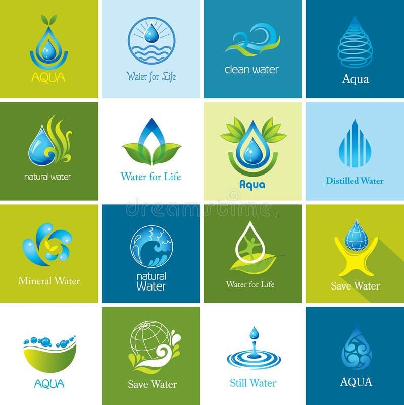 Uppsättning av vektorvattensymboler stock illustrationer