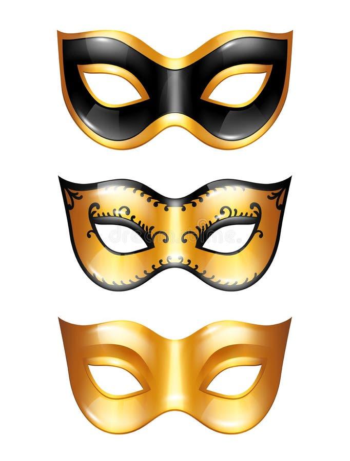 Uppsättning av venetian maskeringar för guld- karneval på vit bakgrund vektor illustrationer