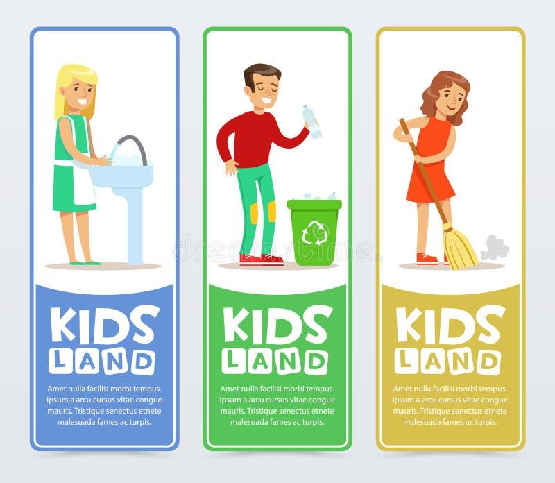 Uppsättning av vertikala baner med barntecken som gör hushållsysslor som tvättar disk och att sopa golvet som kastar royaltyfri illustrationer