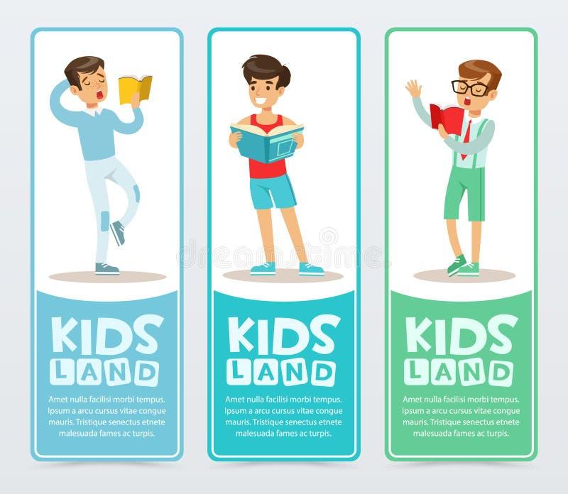 Uppsättning av vertikala baner med tonåringläseböcker aloud Unga pojkar som lär och studerar Tycka om litteratur plant royaltyfri illustrationer