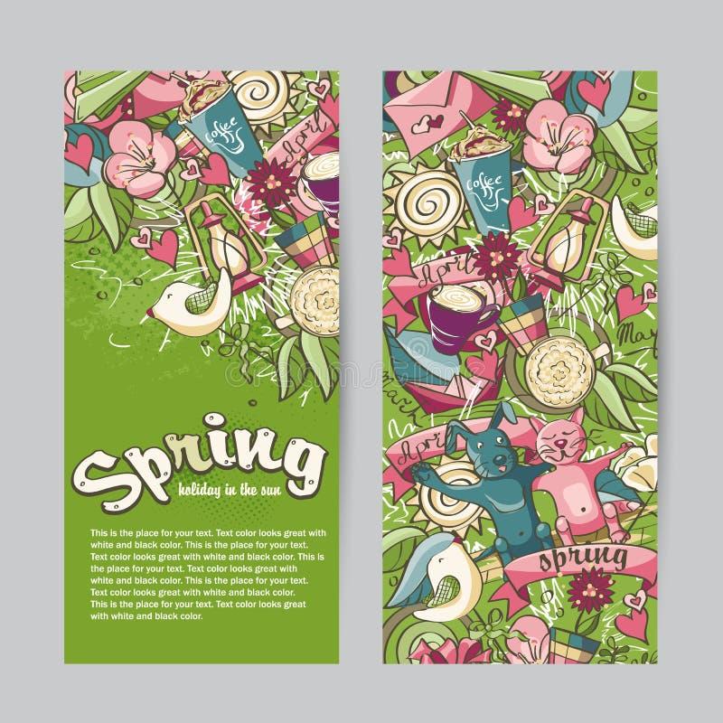 Uppsättning av vertikala baner på temat av våren vektor illustrationer