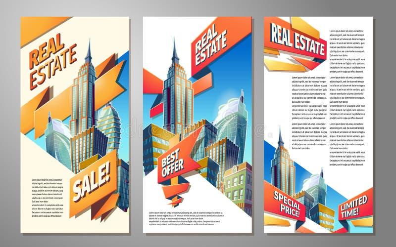 Uppsättning av vertikala vektortecknad filmillustrationer, baner, stads- bakgrunder med stadslandskap stock illustrationer