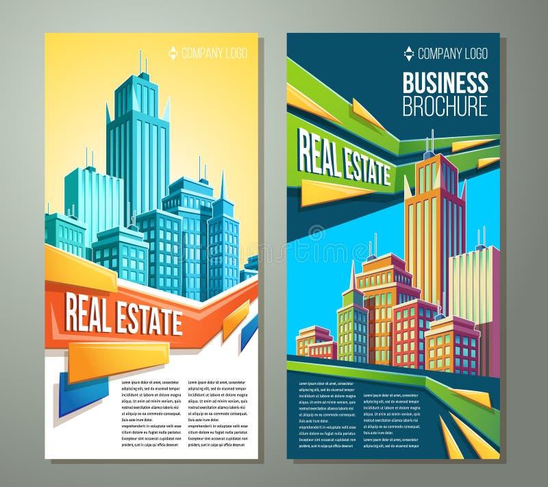 Uppsättning av vertikala vektortecknad filmillustrationer, baner, stads- bakgrunder med stadslandskap vektor illustrationer