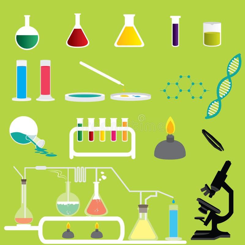 Uppsättning av vetenskapskemikalieer forskning och experimentlaboratoriumvektorer och symboler stock illustrationer