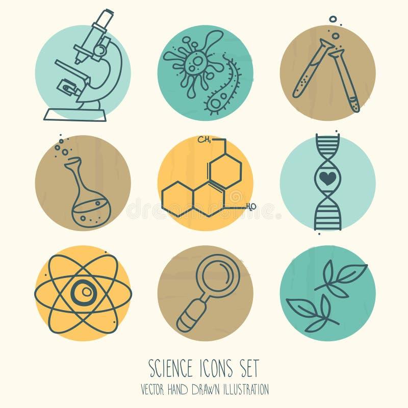 Uppsättning av vetenskapssymboler i hand dragen tecknad filmstil vektor illustrationer