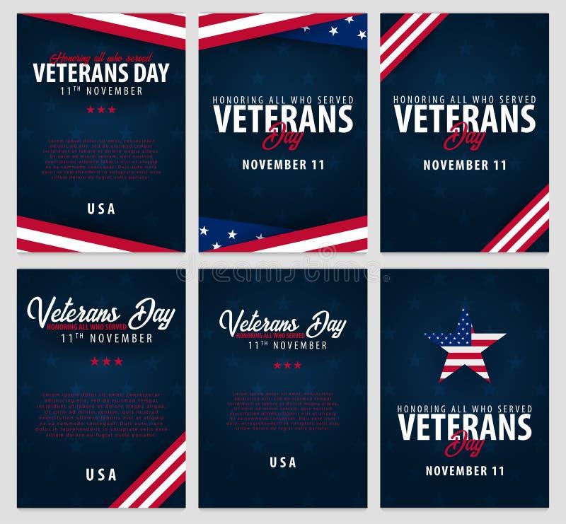 Uppsättning av veterandagen Hedra alla som tjänade som November 11 vektor illustrationer