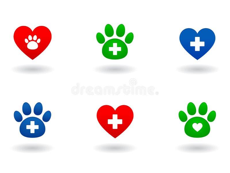 Uppsättning av veterinär- symboler stock illustrationer
