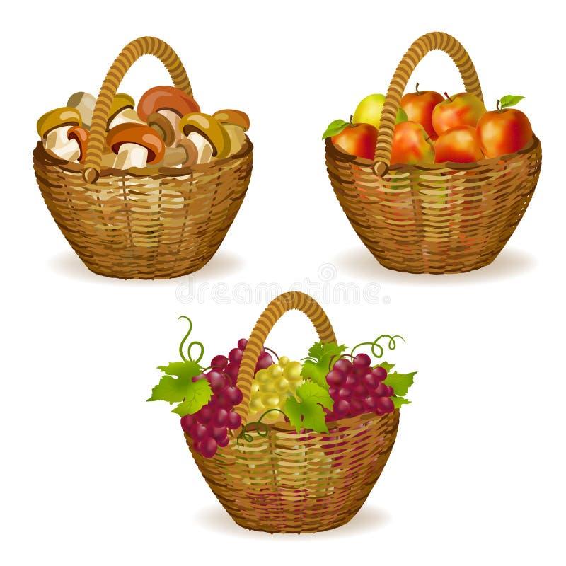 Uppsättning av vide- korgar med frukter, champinjoner stock illustrationer