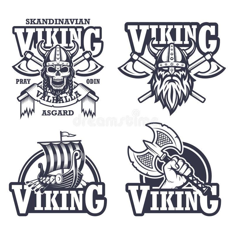 Uppsättning av viking emblem stock illustrationer