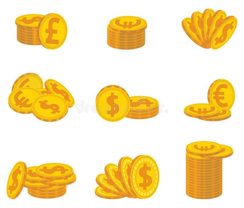 Uppsättning av vikta guld- mynt valuta också vektor för coreldrawillustration stock illustrationer