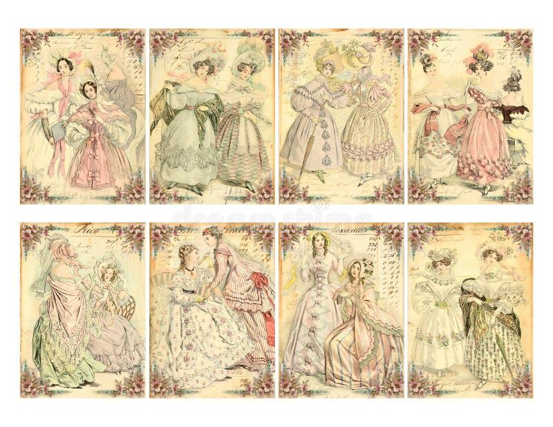 Uppsättning av 8 viktorianska erakvinnors kort för platta för mode stock illustrationer
