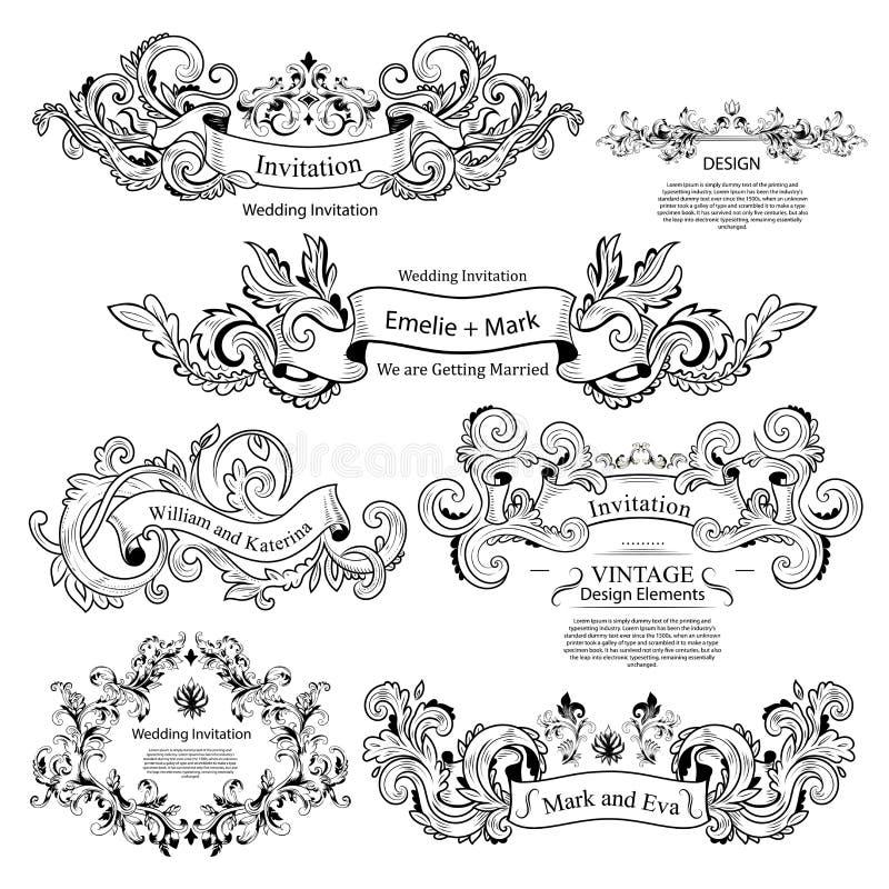 Uppsättning av viktorianska prydnader för tappning Gifta sig design royaltyfri illustrationer