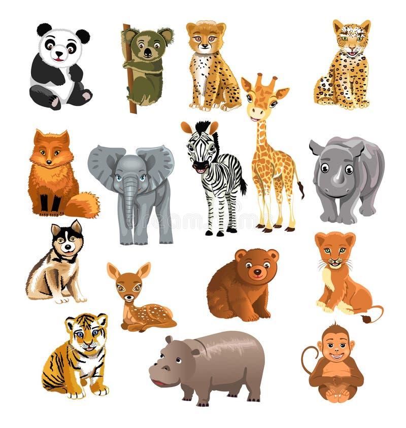 Uppsättning av vilda djur vektor illustrationer