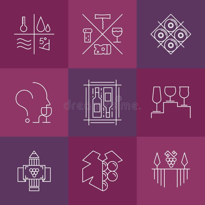 Uppsättning av vin- och winemakingsymboler stock illustrationer