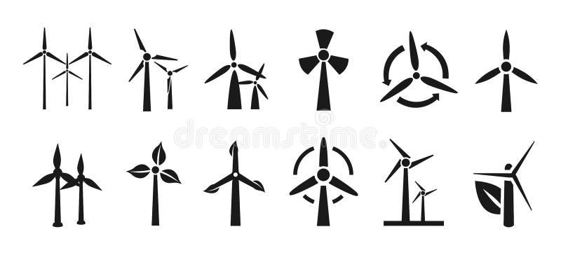 Uppsättning av vindturbinen - vektor royaltyfri illustrationer