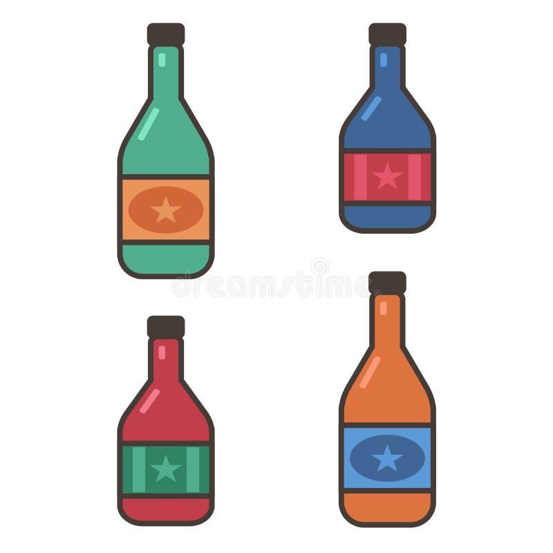 Uppsättning av vinflaskor som isoleras på vit bakgrund stock illustrationer